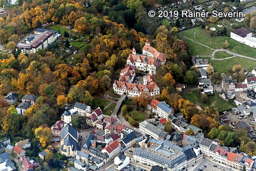 Luftaufnahme Schlösser Glauchau mit Stadtkirche St. Georgen.